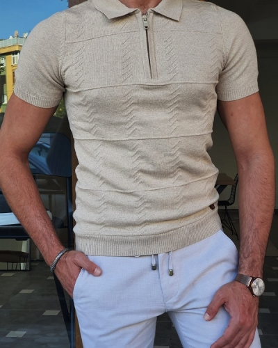Beige Slim Fit Zipper Polo T-Shirt for Men by GentWith.com with Free Worldwide Shipping