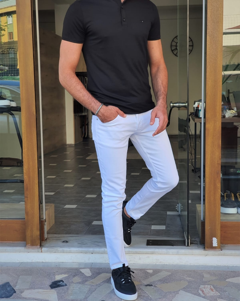 Black Slim Fit Polo T-Shirt for Men by GentWith.com with Free Worldwide Shipping