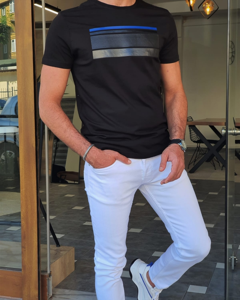 Black Slim Fit Round Neck T-Shirt for Men by GentWith.com with Free Worldwide Shipping
