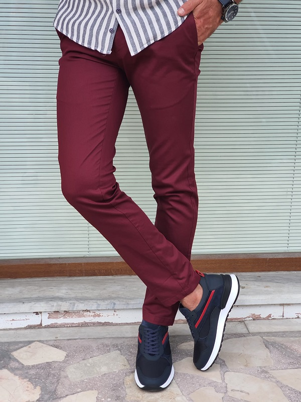 Burgundy Slim Fit Cotton Pants for Men by GentWith.com with Free Worldwide Shipping