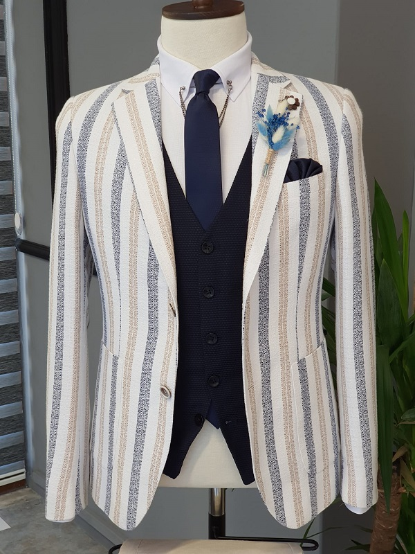 Camel Slim Fit Striped Notch Lapel Cotton Suit for Men by GentWith.com with Free Worldwide Shipping