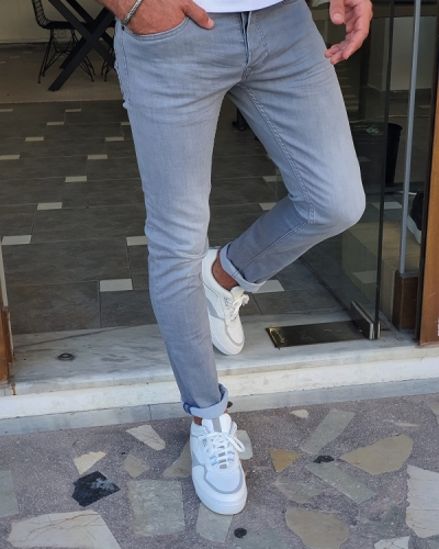 Gray Slim Fit Jeans for Men by GentWith.com with Free Worldwide Shipping