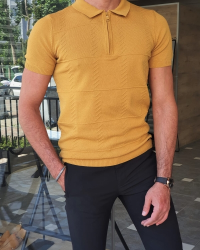 Mustard Slim Fit Zipper Polo T-Shirt for Men by GentWith.com with Free Worldwide Shipping