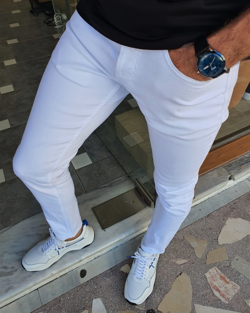 White Slim Fit Jeans for Men by GentWith.com with Free Worldwide Shipping