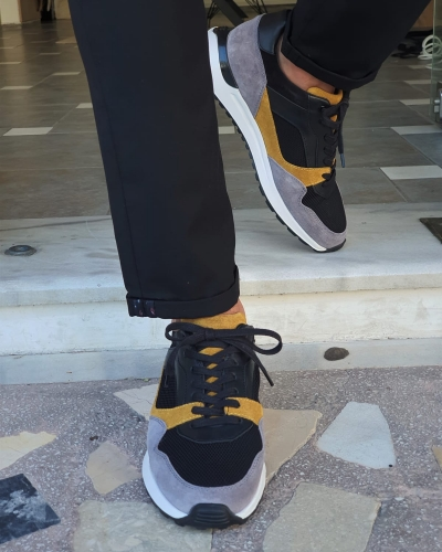 Yellow Mid-Top Sneakers for Men by GentWith.com with Free Worldwide Shipping