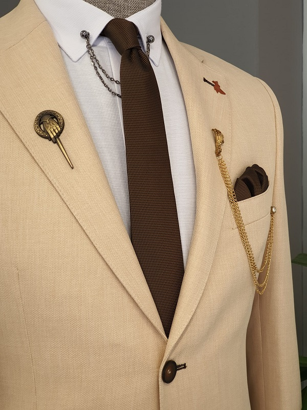 Beige Slim Fit Notch Lapel Cotton Blazer for Men by GentWith.com with Free Worldwide Shipping