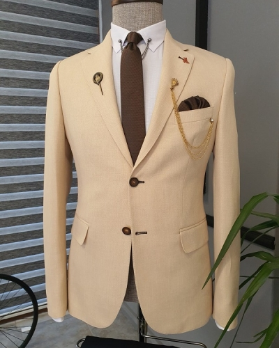 Beige Slim Fit Notch Lapel Cotton Suit for Men by GentWith.com with Free Worldwide Shipping