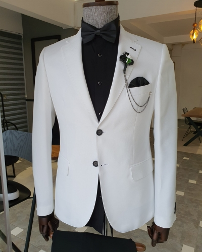 White Slim Fit Notch Lapel Cotton Blazer for Men by GentWith.com with Free Worldwide Shipping