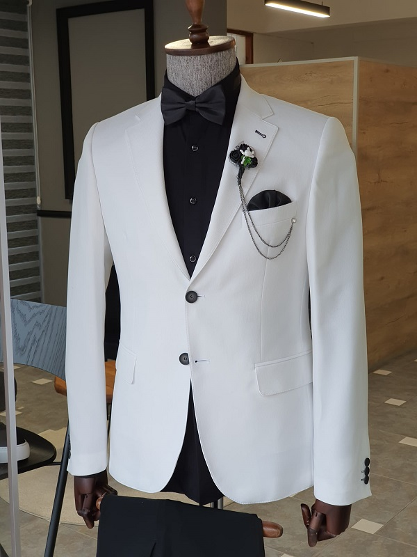 White Slim Fit Notch Lapel Cotton Suit for Men by GentWith.com with Free Worldwide Shipping