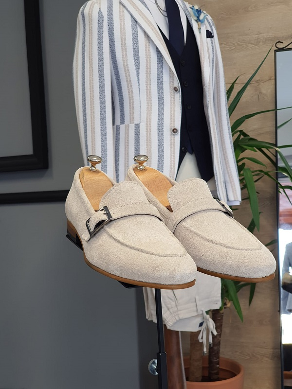 Beige Suede Buckle Loafers for Men by GentWith.com with Free Worldwide Shipping