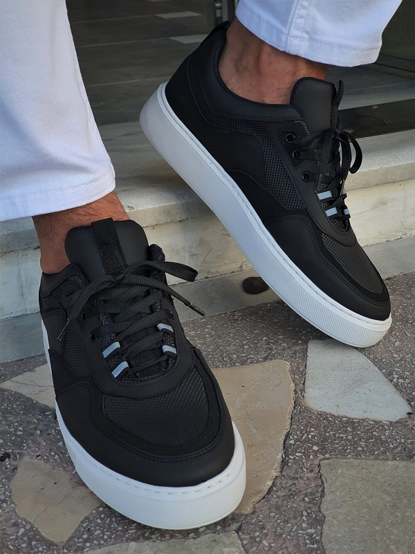 Black High-Top Sneakers for Men by GentWith.com with Free Worldwide Shipping
