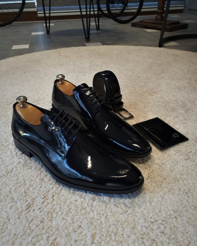 Black Patent Leather Derby for Men by GentWith.com with Free Worldwide Shipping