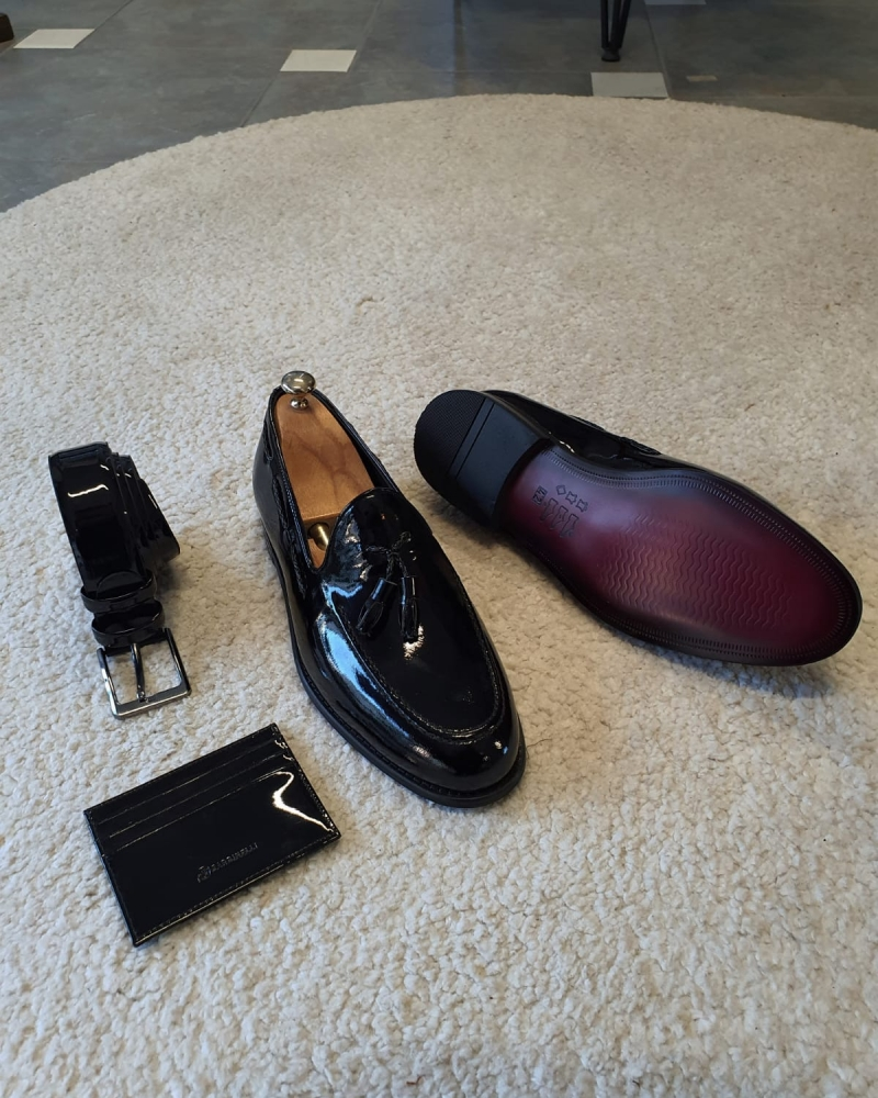 Black Patent Leather Tassel Loafers for Men by GentWith.com with Free Worldwide Shipping