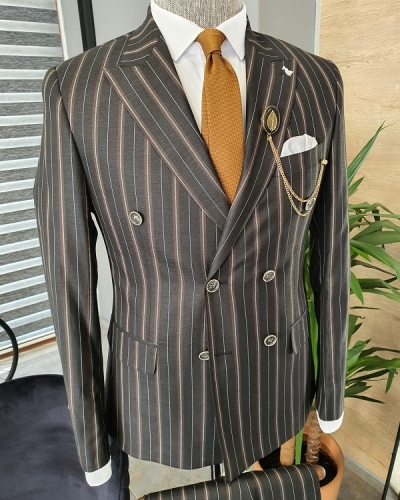 Black Slim Fit Double Breasted Pinstripe Suit for Men by GentWith.com with Free Worldwide Shipping
