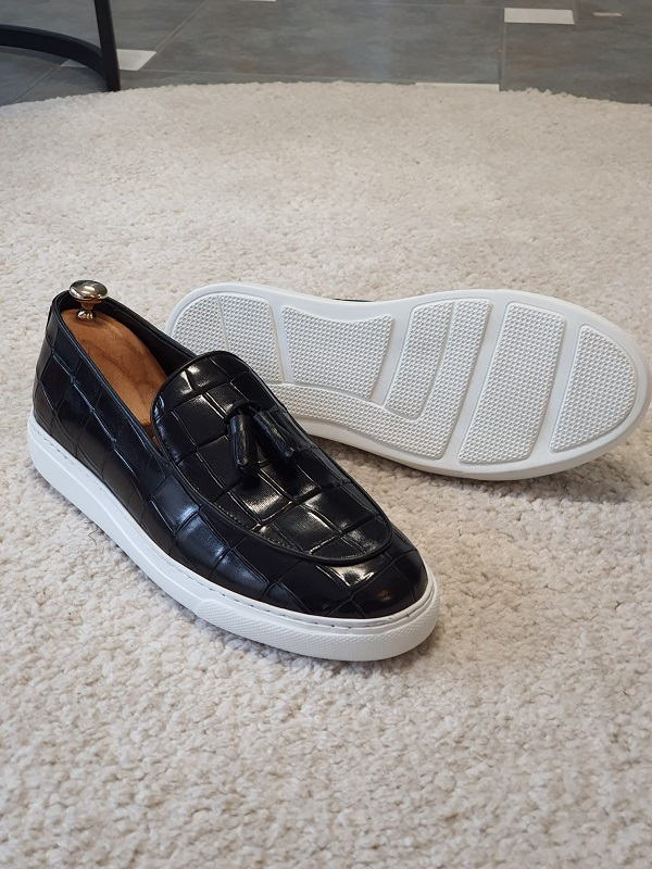 Black Tassel Loafers for Men by GentWith.com with Free Worldwide Shipping