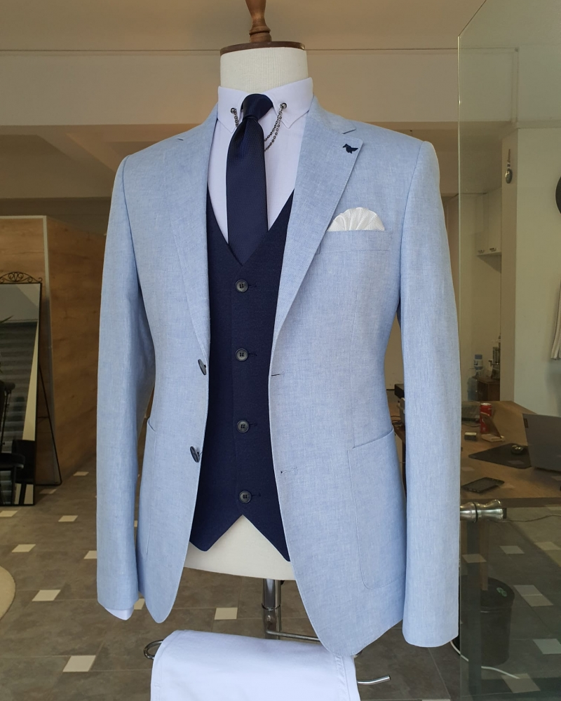 Blue Slim Fit Notch Lapel Linen Blazer for Men by GentWith.com with Free Worldwide Shipping