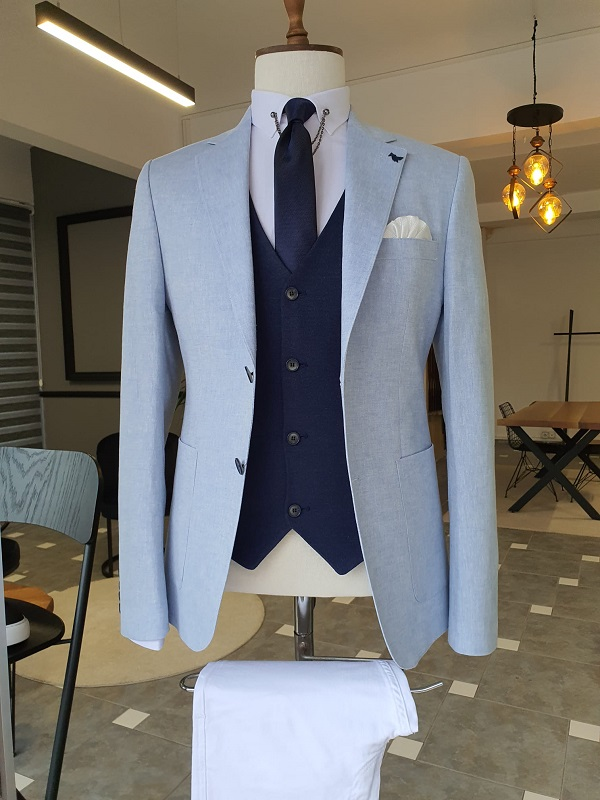 Blue Slim Fit Notch Lapel Linen Suit for Men by GentWith.com with Free Worldwide Shipping