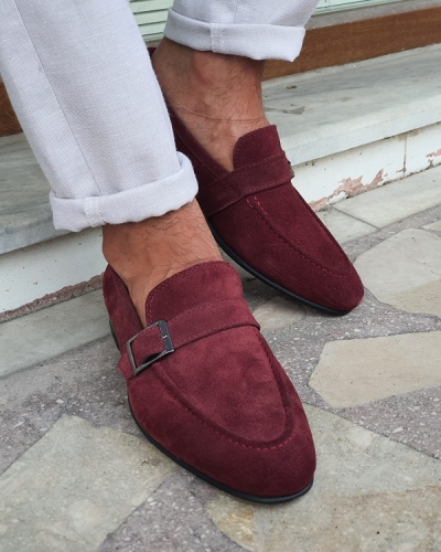 Burgundy Suede Buckle Loafers for Men by GentWith.com with Free Worldwide Shipping