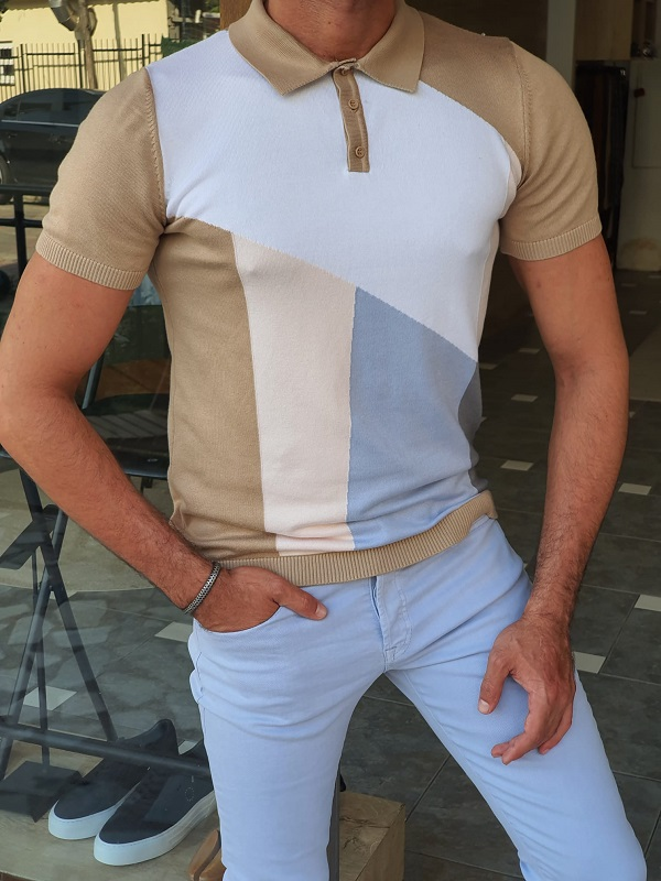 Camel Slim Fit Polo T-Shirt for Men by GentWith.com with Free Worldwide Shipping