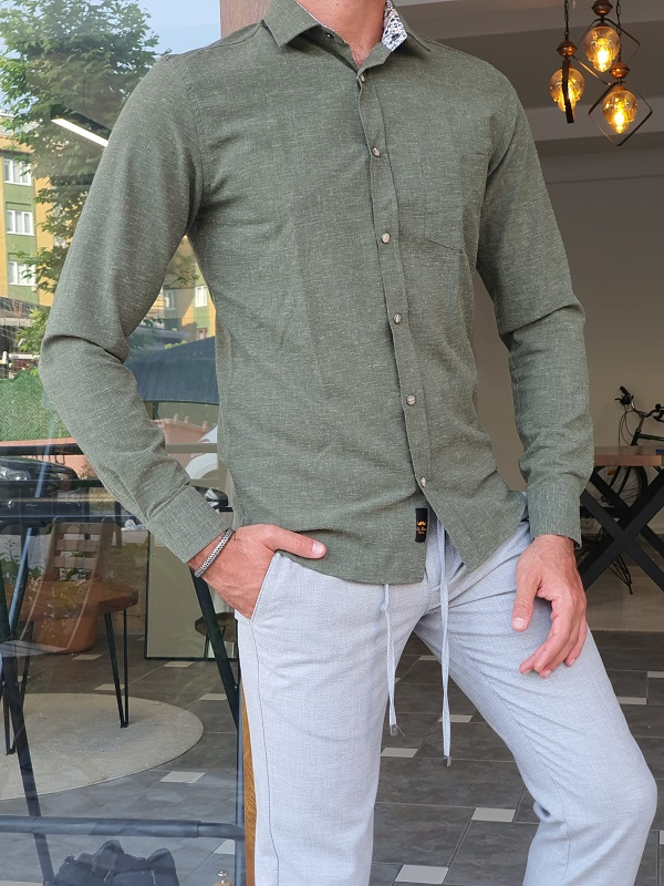 Green Slim Fit Long Sleeve Cotton Shirt for Men by GentWith.com with Free Worldwide Shipping
