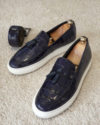 Navy Blue Tassel Loafers for Men by GentWith.com with Free Worldwide Shipping