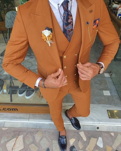 Brown Slim Fit Peak Lapel Wool Suit for Men by GentWith.com with Free Worldwide Shipping