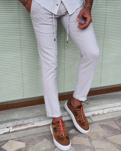 Beige Slim Fit Linen Pants for Men by GentWith.com with Free Worldwide Shipping