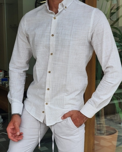 Beige Slim Fit Long Sleeve Pinstripe Cotton Shirt for Men by GentWith.com with Free Worldwide Shipping