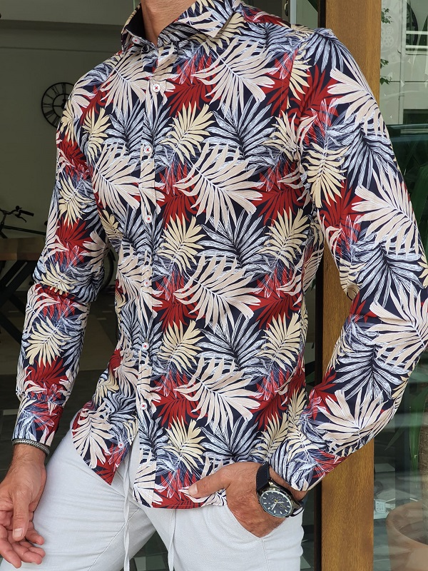 Beige Slim Fit Long Sleeve Tropical Cotton Shirt for Men by GentWith.com with Free Worldwide Shipping