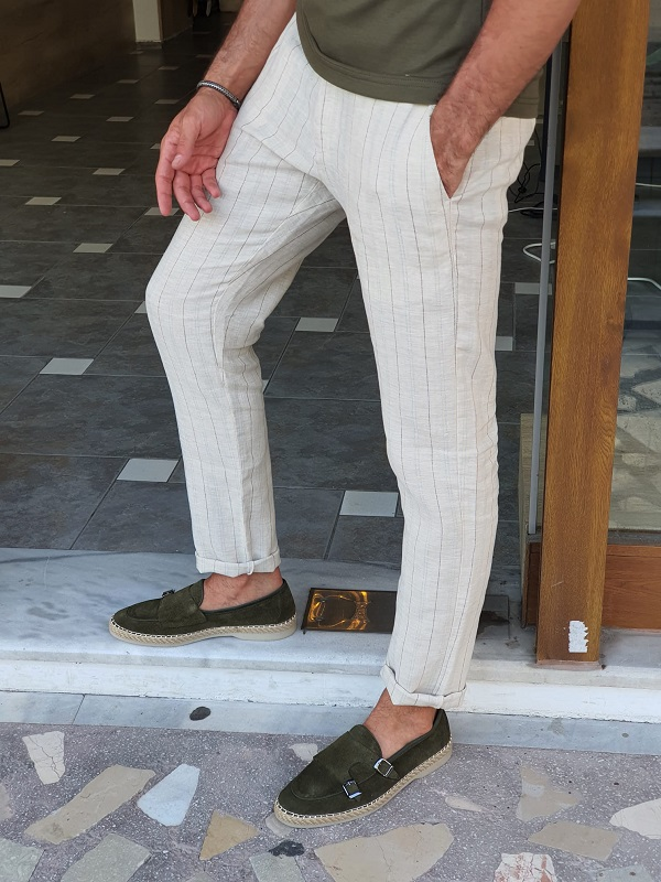 Beige Slim Fit Pinstripe Linen Pants for Men by GentWith.com with Free Worldwide Shipping
