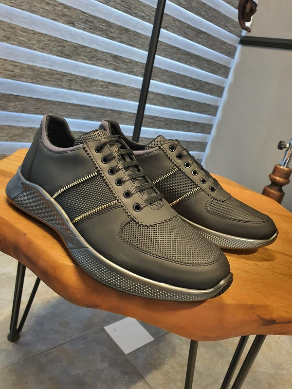 Black Mid-Top Sneakers for Men by GentWith.com with Free Worldwide Shipping