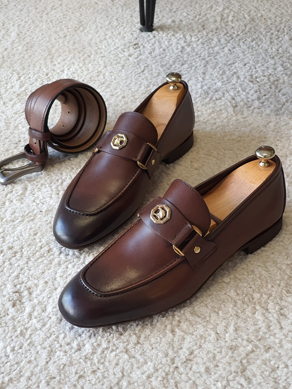 Brown Penny Loafers for Men by GentWith.com with Free Worldwide Shipping