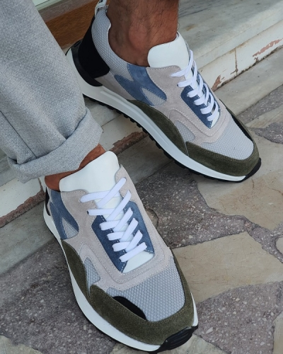 Gray High-Top Sneakers for Men by GentWith.com with Free Worldwide Shipping