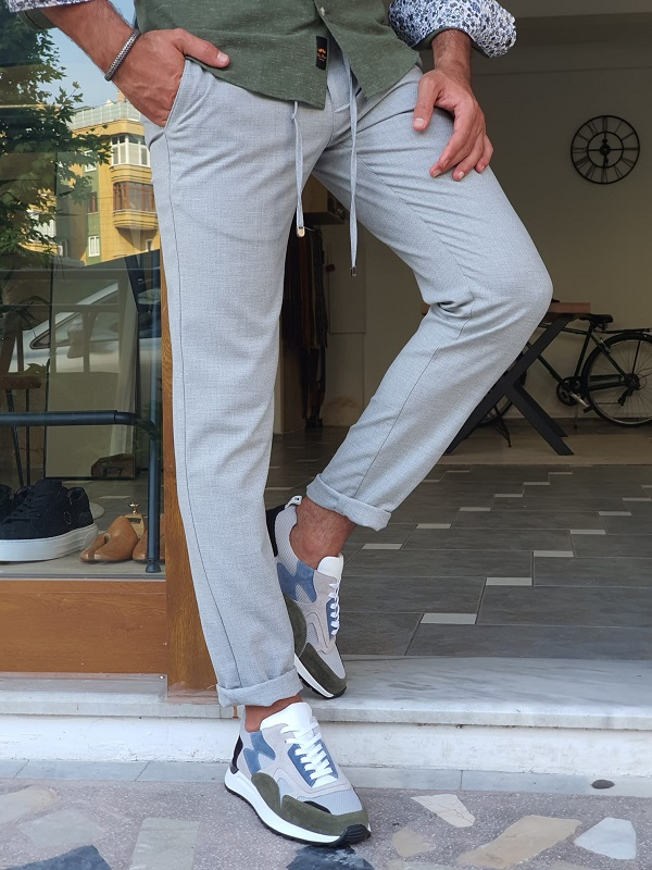 Gray Slim Fit Linen Pants for Men by GentWith.com with Free Worldwide Shipping