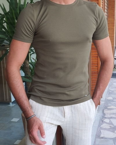 Khaki Slim Fit Crew Neck T-Shirt for Men by GentWith.com with Free Worldwide Shipping