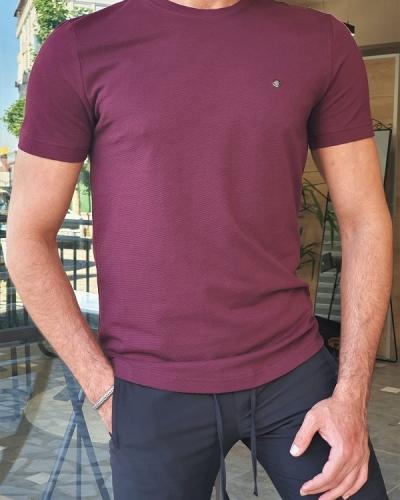 Magenta Slim Fit Crew Neck T-Shirt for Men by GentWith.com with Free Worldwide Shipping
