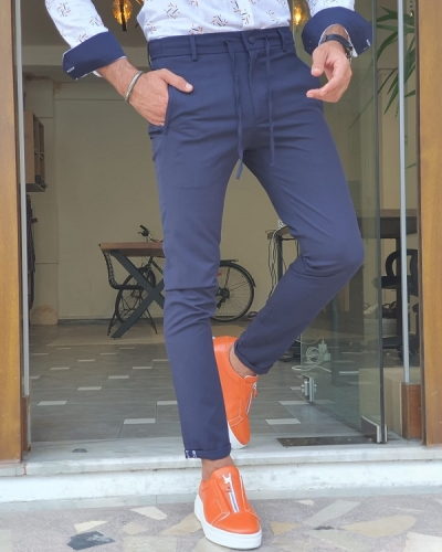 Navy Blue Slim Fit Cotton Pants for Men by GentWith.com with Free Worldwide Shipping