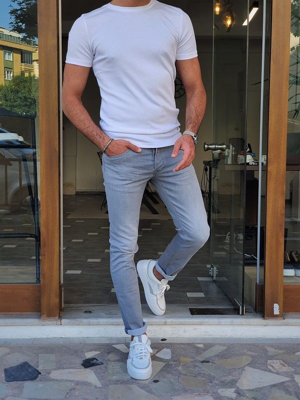 White Slim Fit Crew Neck T-Shirt for Men by GentWith.com with Free Worldwide Shipping