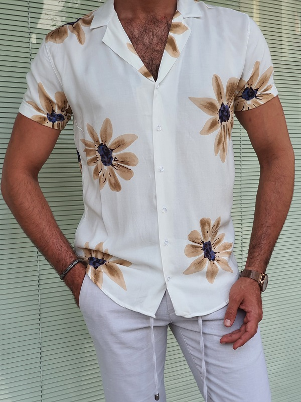 White Slim Fit Short Sleeve Shirt for Men by GentWith.com with Free Worldwide Shipping