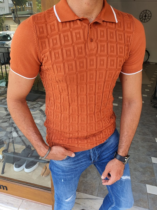 Brown Slim Fit Polo T-Shirt for Men by GentWith.com with Free Worldwide Shipping