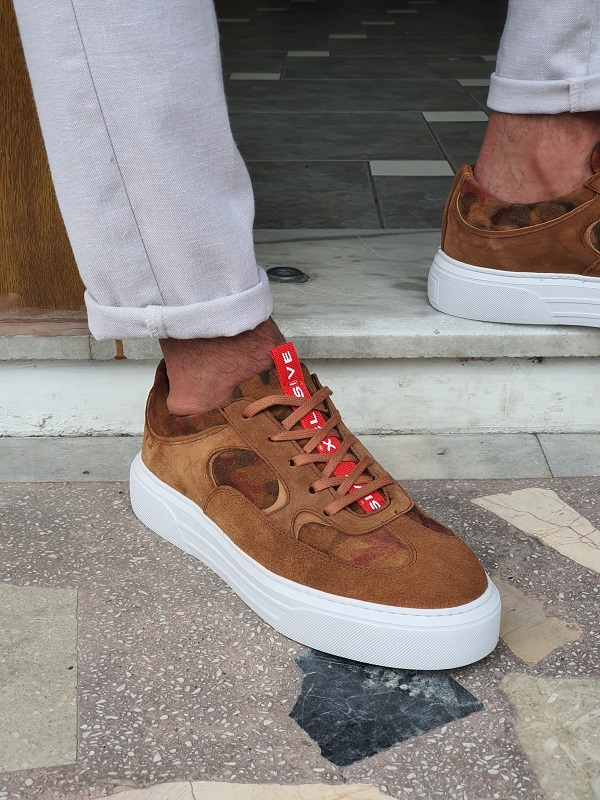 Brown Low-Top Suede Sneakers for Men by GentWith.com with Free Worldwide Shipping
