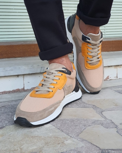 Orange Mid-Top Sneakers for Men by GentWith.com with Free Worldwide Shipping