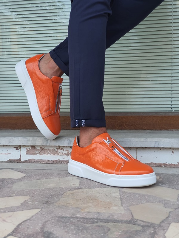 Orange Mid-Top Zipper Sneakers for Men by GentWith.com with Free Worldwide Shipping