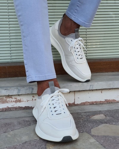 White High-Top Sneakers for Men by GentWith.com with Free Worldwide Shipping