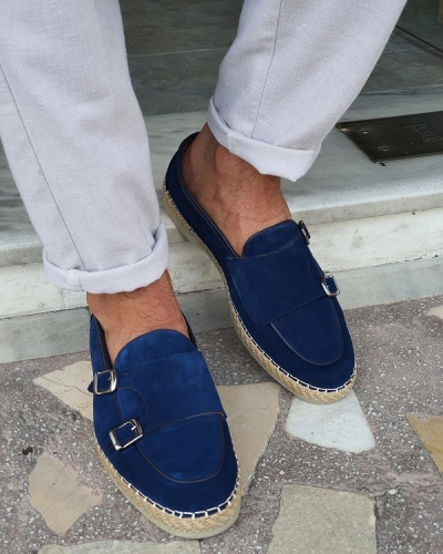 Blue Suede Slip On Bit Loafers for Men by GentWith.com with Free Worldwide Shipping