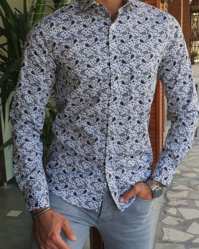 Gray Slim Fit Long Sleeve Paisley Pattern Cotton Shirt for Men by GentWith.com with Free Worldwide Shipping