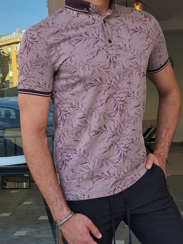 Magenta Slim Fit T-Shirt for Men by GentWith.com with Free Worldwide Shipping