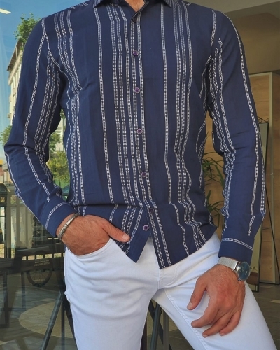 Navy Blue Slim Fit Long Sleeve Striped Cotton Shirt for Men by GentWith.com with Free Worldwide Shipping