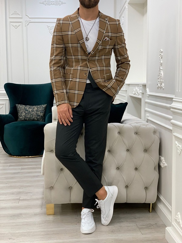 Brown Slim Fit Peak Lapel Plaid Suit for Men by GentWith.com with Free Worldwide Shipping