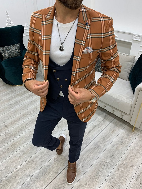 Cinnamon Brown Slim Fit Peak Lapel Plaid Suit for Men by GentWith.com with Free Worldwide Shipping